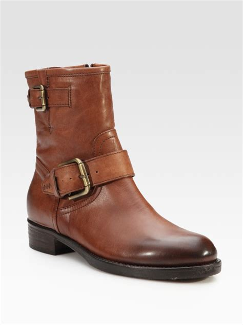 cognac boots alberto fermani leather buckle ankle boots in brown