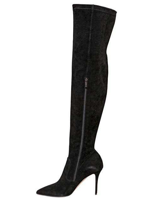 le silla 80mm stretch suede the knee boots in black