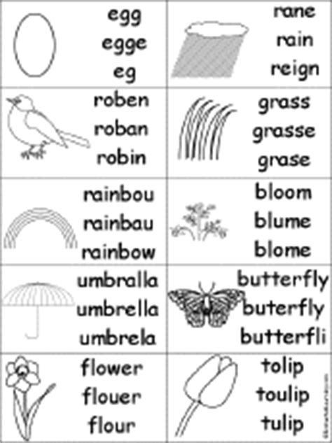 Spelling Worksheets: Spring Theme Page at