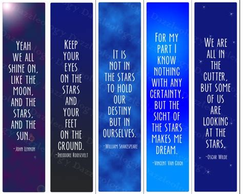 free printable bookmarks with quotes printable inspirational star quotes bookmarks by