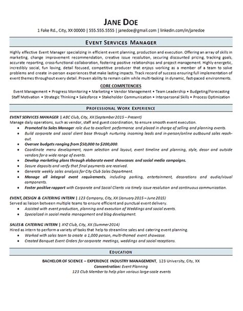 event planning resume sles event manager resume exle event planning services