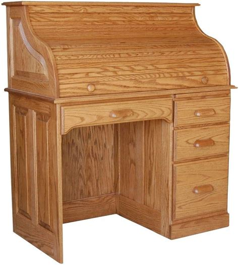 solid oak desk amish rolltop writing computer desk home office furniture