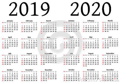 Calendrier 2019 Et 2020 Calendrier Pour 2019 Et 2020 Illustration De Vecteur