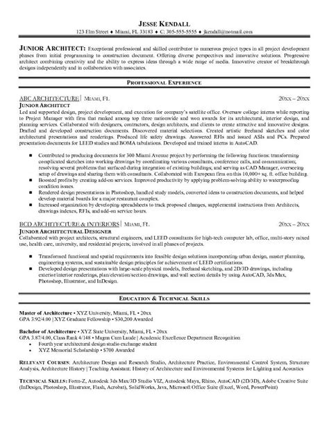 Resume Exles For Architecture Exle Junior Architect Resume Free Sle