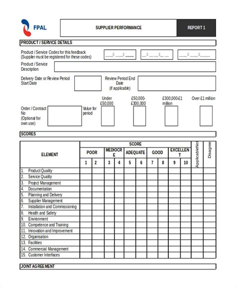 vendor performance evaluation template sle supplier evaluation form 10 free documents in
