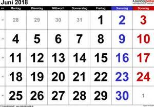 Kalender 2018 Juni Juli Kalender Juni 2018 Als Word Vorlagen