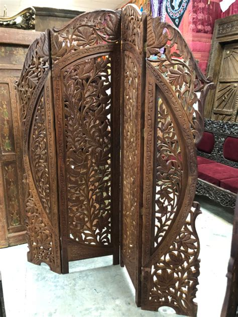 vintage screen room divider arched hand carved  panel arched