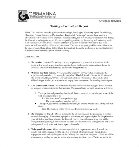 lab report template 26 free word pdf document free