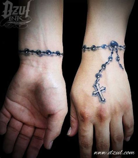 32 rosary tattoos on wrists