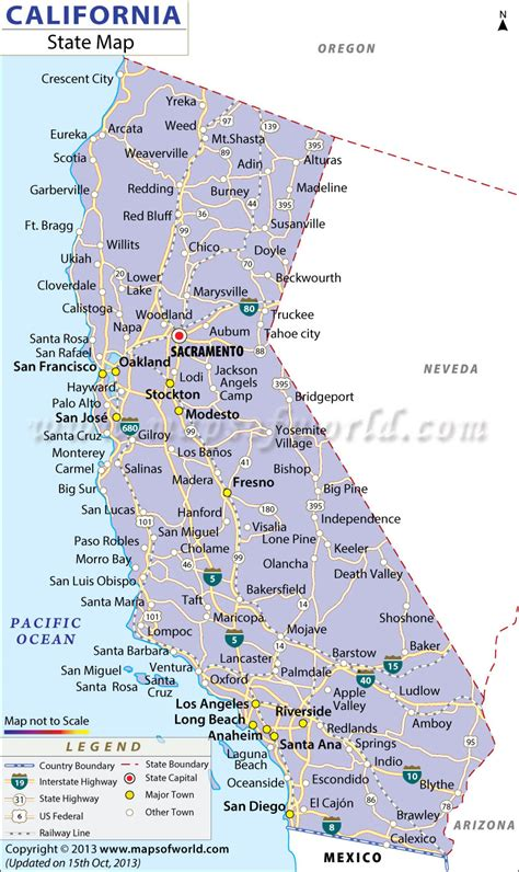 california state map california cities map free large images
