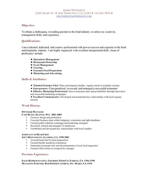 Restaurant Resume Objective by Sle Restaurant Resumes Restaurant Functional Resume