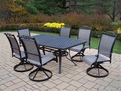 7 Pc Patio Dining Set Oakland Living Aluminum 7 Pc Patio Dining Set W 70x38 Quot Table Swivel Rockers