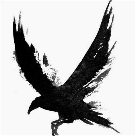 black crow tattoo flying design