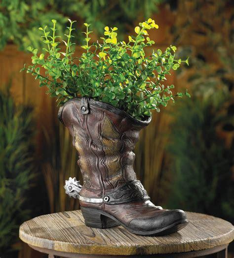 cowboy boot planter spurred cowboy boot planter wholesale at koehler home