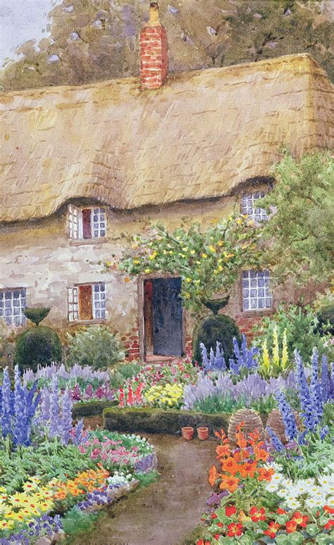 Cottage Garden Paintings by A Cottage Garden In Bloom Painting By Henry Garlick