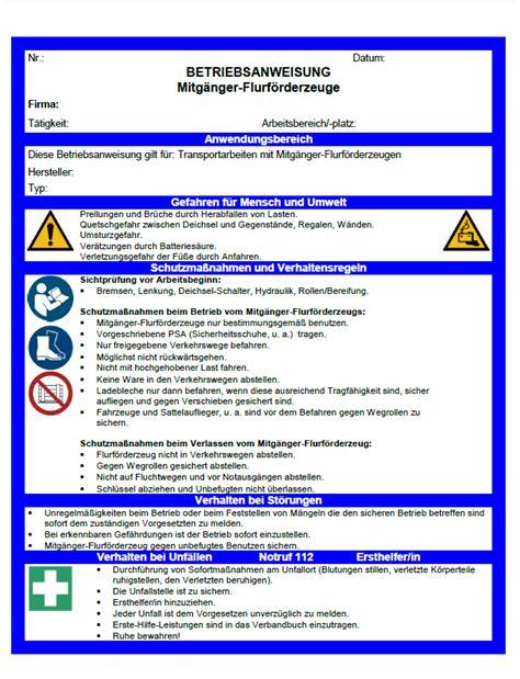Muster Zertifikat Word Betriebsanweisung Handgef 252 Hrte Mitg 228 Nger