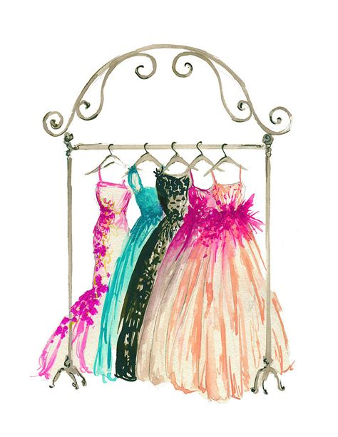 fashion illustration painting couture in closet watercolor fashion illustration painting by koma