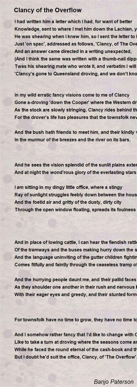 Clancy Of The Overflow Essay by Clancy Of The Overflow Poem By Banjo Paterson Poem