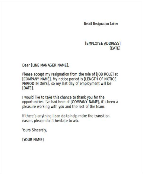 resignation letter examples ms word google