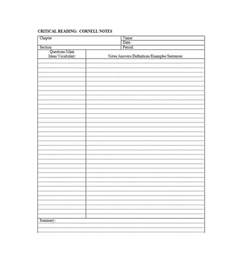 cornell notes word template 36 cornell notes templates exles word pdf