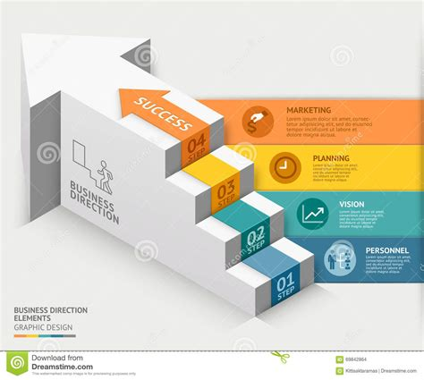 banner workflow 3d business staircase diagram template vector