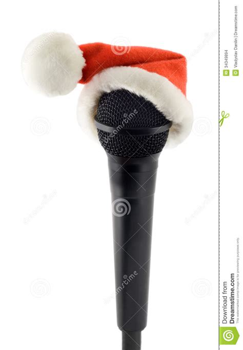 microphone black in santa claus hat stock images image