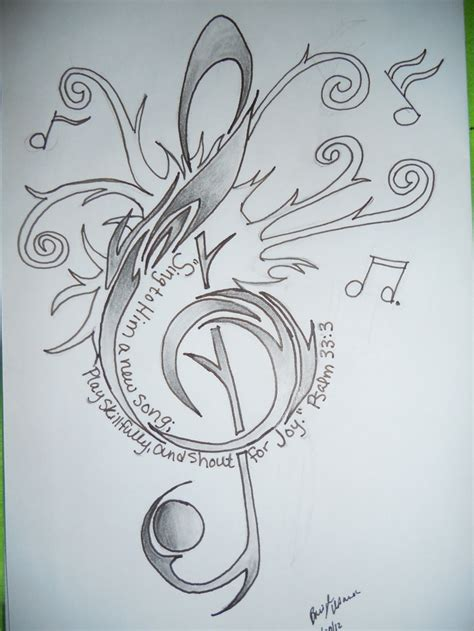 treble tattoo designs treble clef design with psalm 33 3 bible verse