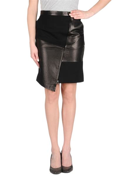 tibi leather skirt in black lyst