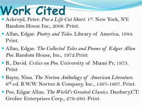 edgar allan poe biography work cited wheeler research paper ppt