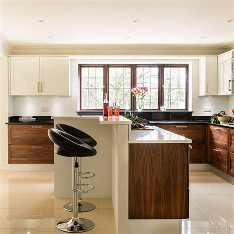 walnut kitchen ideas modern cream kitchen with walnut units kitchen
