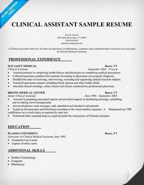Clinical Assistant Resume clinical assistant resume sle http resumecompanion