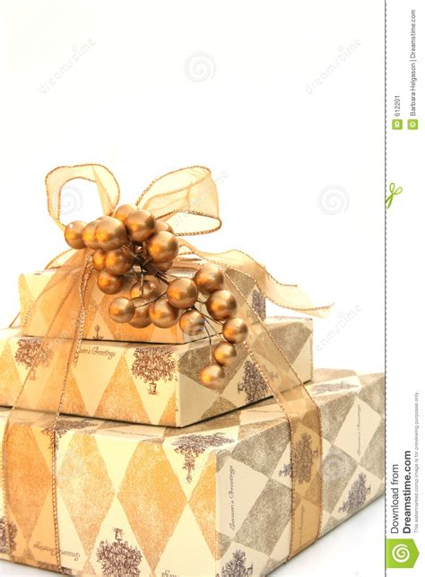gold wrapped christmas present stock image image