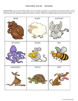 printable animal charades cards charades cards animals grade 1 free printable tests