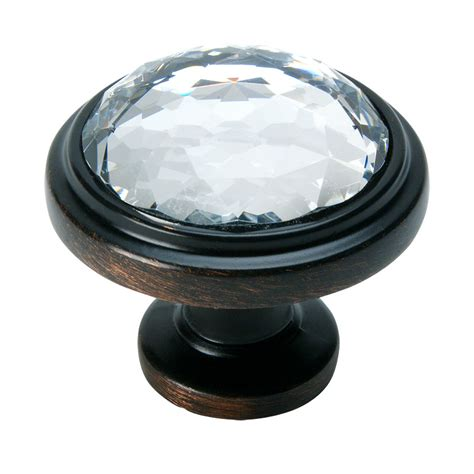 rubbed bronze clear glass cabinet knob