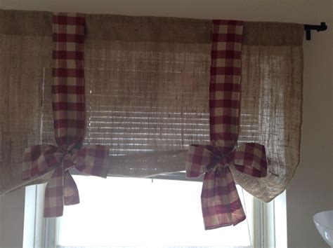 Bow Window Treatments handmade tie up burlap valance with burgundy gingham bow