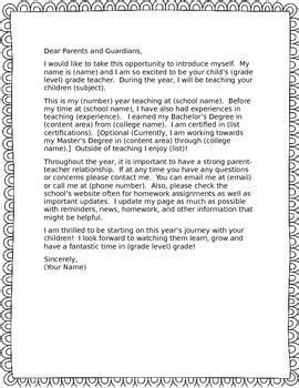 Parent Information Letter Template a letter template for you to fill in with your own