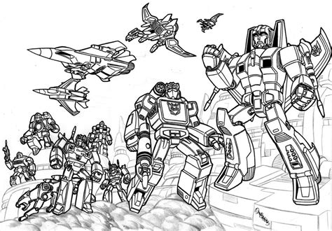 Decepticons assemble 1 b w by danbrenus on deviantART