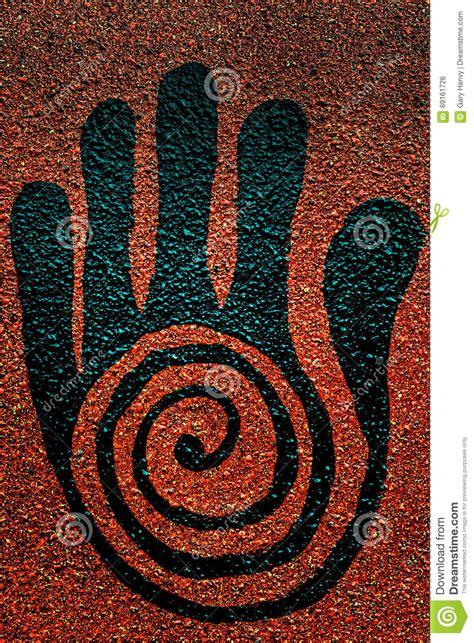 black reiki healing hand symbol stock photo image