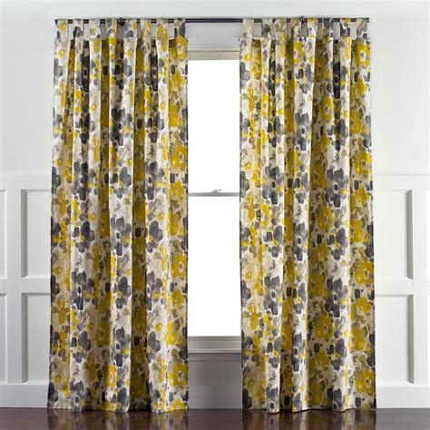 grey and yellow drapes linen cotton grommet window panel desert marigold west elm