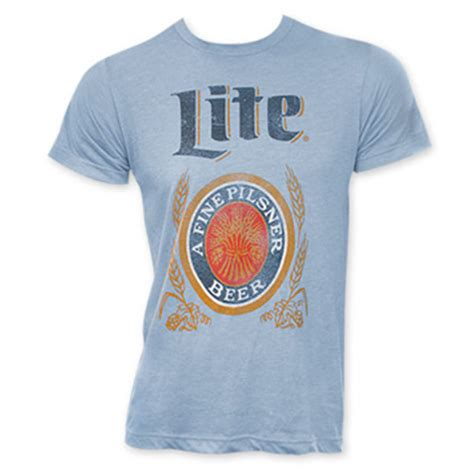 Miller Lite Logo S Light Blue T Shirt For Only