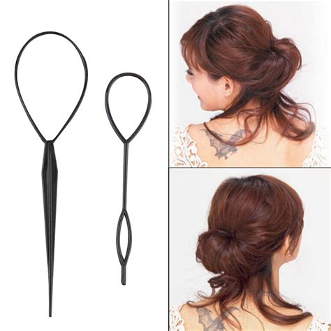 Twist Hairstyle Tools Clipart Images by Ponytail Creator Plastic Loop Styling Tool Black Topsy