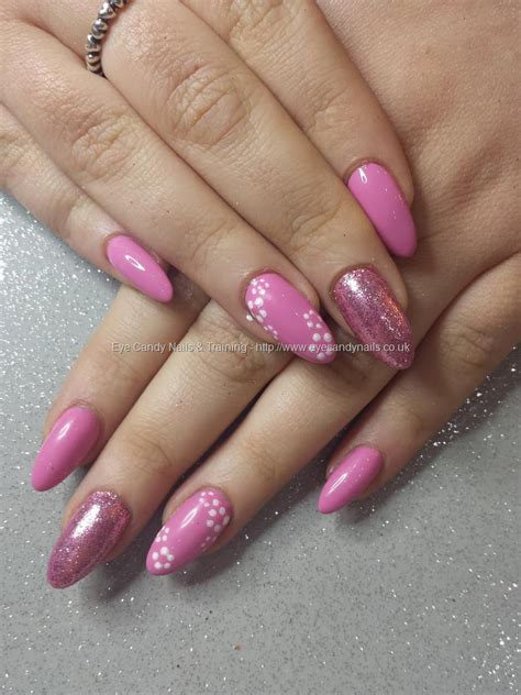 Gel Flower eye nails pink gel with glitter and simple flower nail by elaine on
