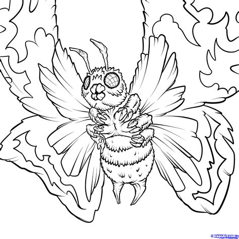 godzilla 2 coloring pages step 23 how to draw mothra mothra