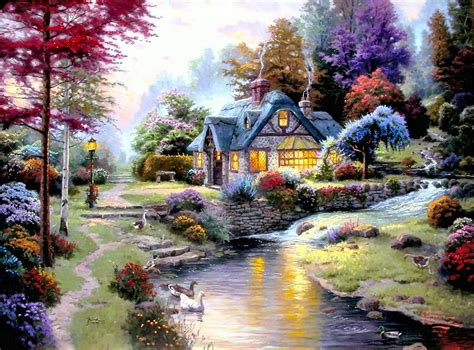 Kinkade Stillwater Cottage by Stillwater Cottage 18x24 E P Framed Limited Kinkade Canvas Paintings