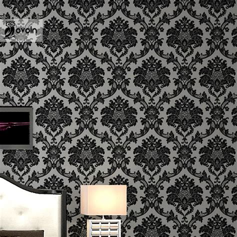 Black Damask Wallpaper Home Decor by Modern Vinyl Black Silver Damask Wallpaper