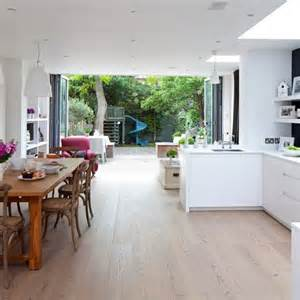 open plan kitchen design ideas white kitchen with bi fold doors white kitchen design