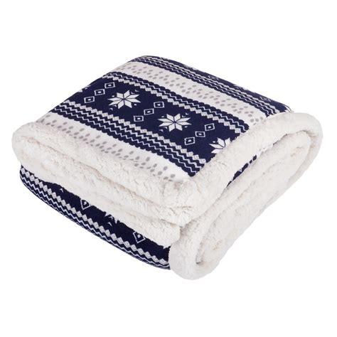 snowflake design luxury fleece blanket soft sherpa warm