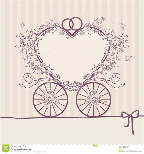 templates for wedding card design wedding invitation coach design template stock vector illustration of obsolete design 42751377