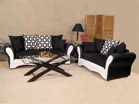 Black Fabric Sofa Living Room Furniture black and white sofa and loveseat living room sets