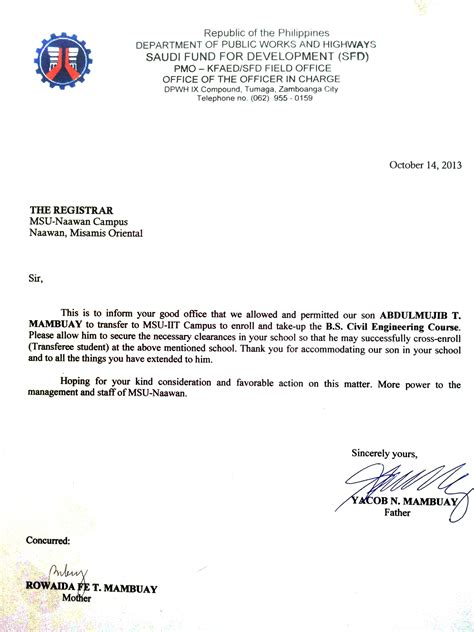 Parent Consent Letter For On The Letter Of Consent Mr Villaflor